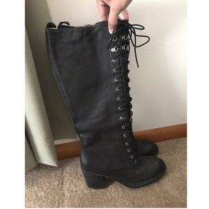 Genuine leather lace up combat boots